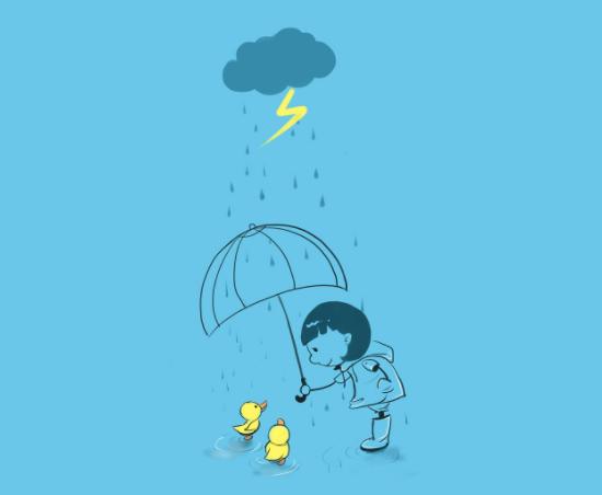 雨天幽默正能量的句子 下雨天的调皮短句